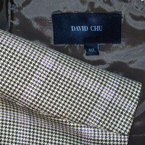 NEW 46L David Chu SILK Italy Plaid blazer